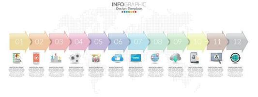 Timeline-Infografik-Design für 12 Monate mit Geschäftskonzept vektor