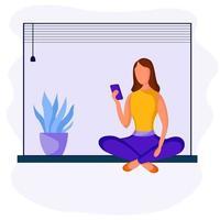 Mädchen sitzt mit Telefon vektor