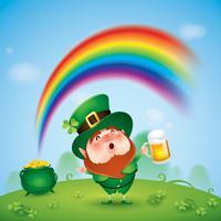 tecknade leprechaun som håller öl
