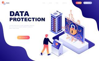 Modern plattform isometrisk koncept för dataskydd vektor