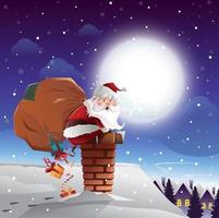 Weihnachtsmann auf dem Dachkonzept vektor