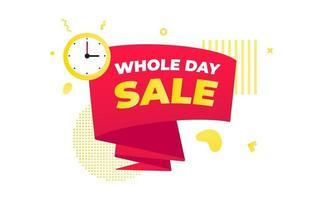 ganztägiger Verkauf Countdown-Band-Abzeichen-Symbol-Schild mit großem rotem Band vektor