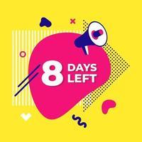 Verkauf Countdown flüssige abstrakte Elemente noch acht Tage vektor