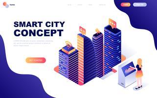 Isometrisches Konzept des modernen flachen Designs von Smart City Technology