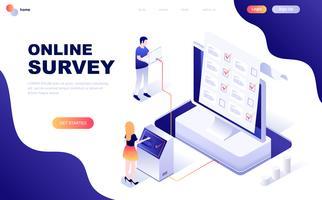 Isometrisches Konzept des modernen flachen Designs der Online-Umfrage