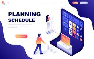 Modern planlösning isometrisk koncept för planeringsschema vektor