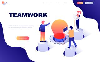 Modernt plandesign isometrisk koncept för Teamwork