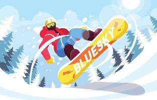 Snowboarder mit sportlichem Style springt auf vektor