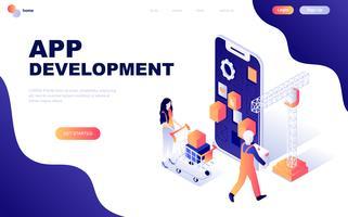 Modernes flaches Design isometrisches Konzept der App-Entwicklung