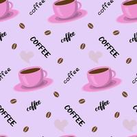 Vektor nahtlose Muster mit Kaffeetasse, Schriftzug und Bohnen