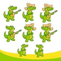 Cartoon-Krokodil im Set Gitarre spielen und Hut verwenden vektor