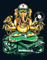 Ganesha DJ sittande på elektroniska musikaliska saker vektor