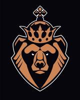 Bär i Crown Mascot Vector Icon