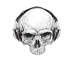 Skalle med hörlurar