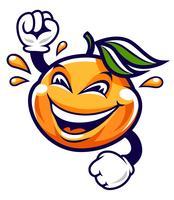 Lustiger Karikatur-Mandarinen-Vektor-Charakter