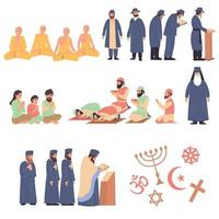 Weltreligionen flaches Set vektor