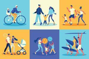 aktives Familiendesign-Konzept vektor