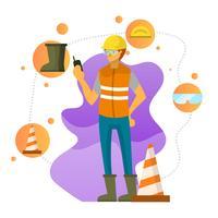 Flacher Charakter trägt persönliche Schutzausrüstungs-Vektor-Illustration