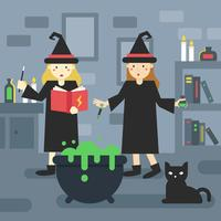 2 Wizard-Schüler in der Schule vektor