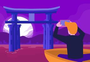 Besök Japan Vector Flat Illustration