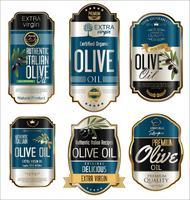 Goldene Hintergrundsammlung der Retro Weinlese des Olivenöls