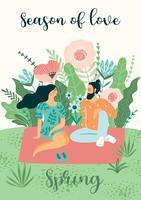 Gullig illustration med människor och vårens natur.