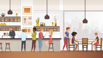 Människor Dricker Kaffe In In Interior Vector Cafe Bar