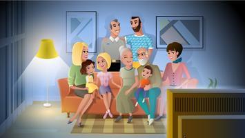 Stor familj kvällsmöte Hemma Vector Concept
