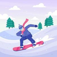Snowboarder fahren im Winter den Schneehügel hinunter vektor