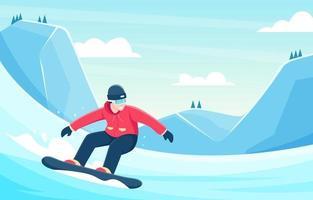 Snowboarder, der den Schneehügelhintergrund hinunterfährt vektor