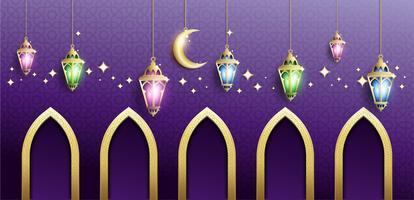 Ramadan Kareem mit hängender Laterne Fanoos & Mosque Background