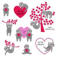 sloth valentines vektor
