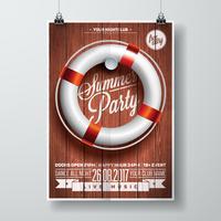 Vektor-Sommer-Strandfest-Flieger-Design mit typografischen Elementen und Rettungsboje vektor