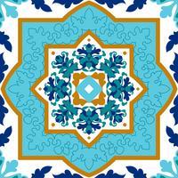Portugisiska azulejo Vita och blå mönster. vektor
