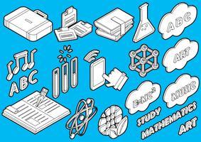 Illustration von grafischen Bildungsikonen der Informationen stellte Konzept ein