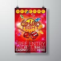 Vektor Party Flyer Design auf einem Casino-Thema mit Chips und Würfel auf rotem Hintergrund.