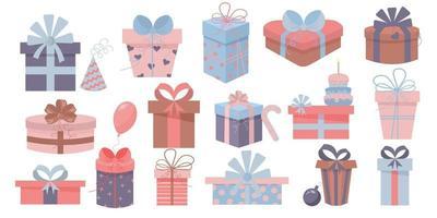 Geschenkboxen mit Schleifen und Bändern. Weihnachtsgeschenke, Geburtstagsgeschenke vektor