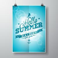 Hej sommar, jag har väntat på dig inspirations citat på blå himmelbakgrund.