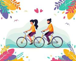Mann und Frau, die Tandemfahrrad fahren. gesunder Lebensstil, Sommerzeit vektor