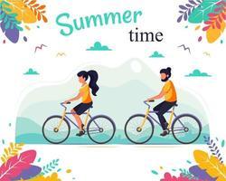 Mann und Frau, die Fahrrad fahren. gesunder Lebensstil, Sommerzeit vektor