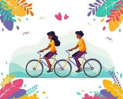 Schwarzes Paar, das Tandemfahrrad fährt. gesunder Lebensstil, Sommerzeit vektor