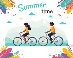 Schwarzes Paar, das Fahrrad fährt. gesunder Lebensstil, Sommerzeit vektor