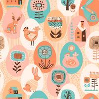 Vektor sömlösa mönster med påsk symboler och folk blommor.