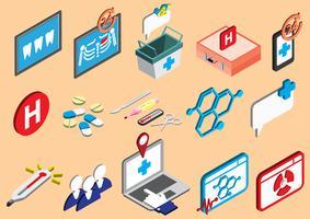 illustration av info grafisk sjukhus ikoner uppsättning koncept