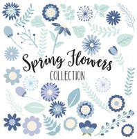 Blaue Frühlingsblumen-Sammlung vektor