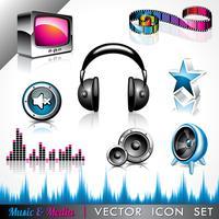 ikon samling med ett musik och media tema.