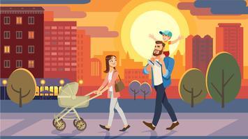 Familie, die mit Babyauto am Stadtsonnenuntergang geht