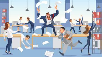 Verärgerter Chefschrei in stehendem Tisch des Chaos