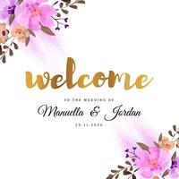 Willkommen zu unserer Hochzeit Blumenmuster vektor