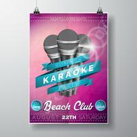 Vektor Flyer illustration på ett Summer Karaoke Party tema med mikrofoner